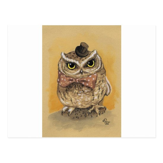 Mister Owl Dapper Gent Postcard