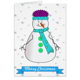 Mister Snowman Merry Christmas Whimsical Primitive Card