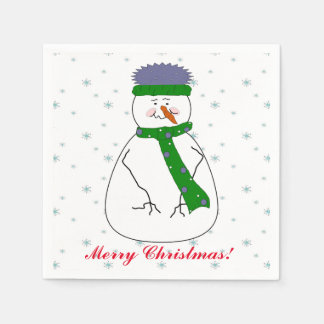 Mister Snowman, Snowing, Snow Flakes Whimsical Art Paper Napkin