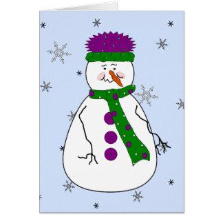 Mister Snowman, Snowing Snow Whimsical Primitive Card