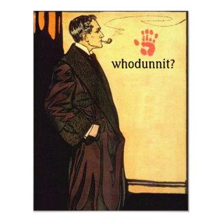 """Misterio de Whodunnit que soluciona al detective Invitación 4.25"""" X 5.5"""""""