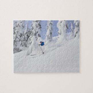 Mistie Fortin skis powder Jigsaw Puzzle
