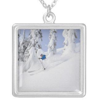 Mistie Fortin skis powder Square Pendant Necklace