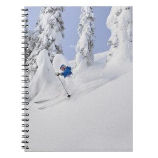 Mistie Fortin skis powder Spiral Notebooks