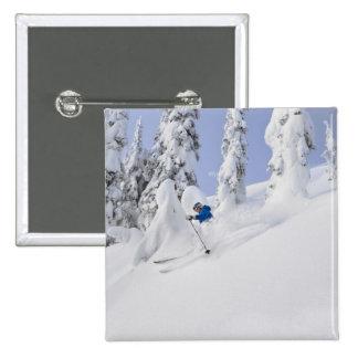Mistie Fortin skis powder Pinback Button