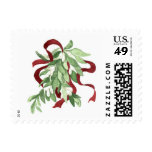 Mistletoe and Red Ribbon Postage Stamp