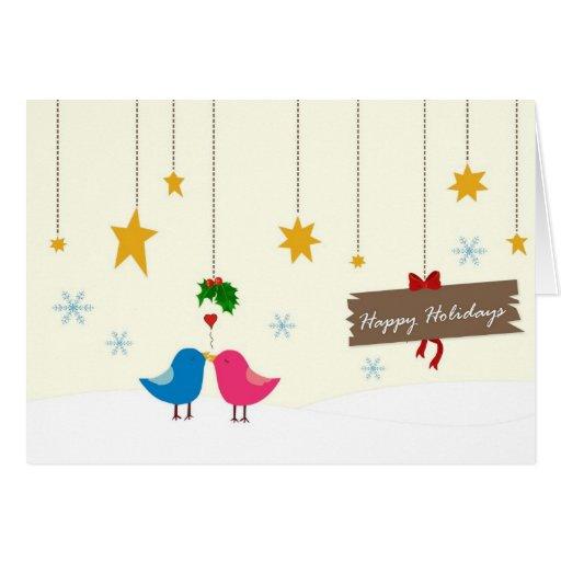 Mistletoe Birdies Christmas Card