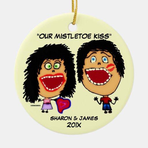 Mistletoe Cartoon Double-Sided Ceramic Round Christmas Ornament