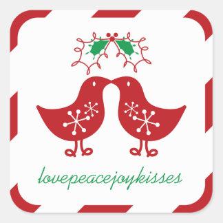 Mistletoe Christmas Kissing Chicks Holiday Sticker