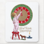 Mistletoe Clock & Toddler New Year Greetings Mouse Pad