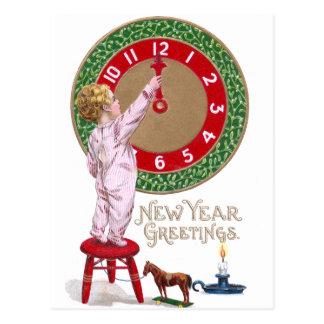 Mistletoe Clock & Toddler New Year Greetings Postcard