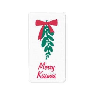 ¡_Mistletoe feliz Kissmas de WagToWishes! etiqueta Etiqueta De Dirección