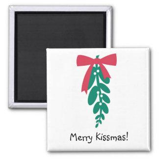 ¡_Mistletoe feliz Kissmas de WagToWishes! imán
