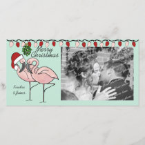 Mistletoe Flamingoes Holiday Card