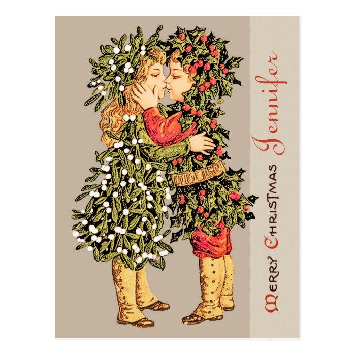 Mistletoe girl and holly boy kiss CC0781 Christmas Postcard