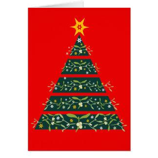 Mistletoe green christmas tree seasonal card red