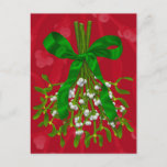 """""""Mistletoe Greetings."""" Postcard<br><div class=""""desc"""">""""Mistletoe Greetings."""" Postcard is a Photoshop painting of Mistletoe wrapped with a green ribbon on a red background. I hope you enjoy it.  Thanks,  Corbie Eva Crouse</div>"""