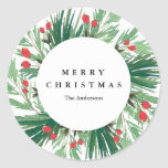 """Mistletoe Holiday Sticker<br><div class=""""desc"""">This design features hand painted watercolor holiday branches and berries.</div>"""