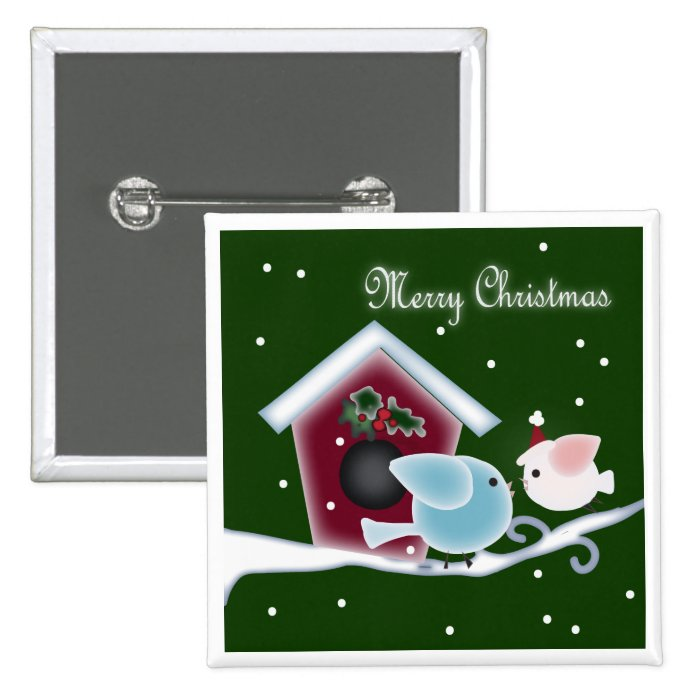 mistletoe Kiss Love Birds Our First Christmas Button