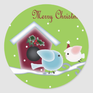 mistletoe Kiss Love Birds Our First Christmas Classic Round Sticker