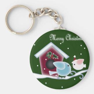 mistletoe Kiss Love Birds Our First Christmas Keychain