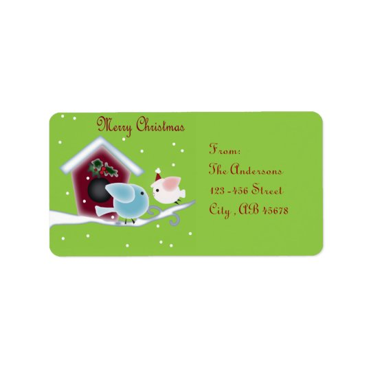 mistletoe Kiss Love Birds Our First Christmas Label