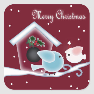 mistletoe Kiss Love Birds Our First Christmas Square Sticker