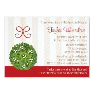 Mistletoe Kissing Ball Bridal Shower 5x7 Paper Invitation Card