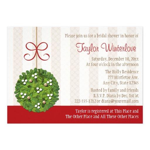 Mistletoe Kissing Ball Bridal Shower Card