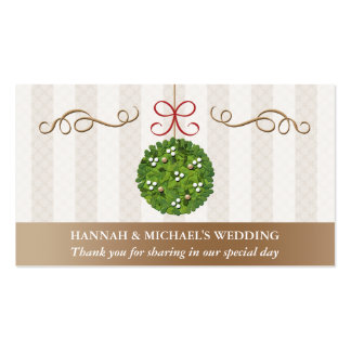 MISTLETOE KISSING BALL Seating Place Card Double-Sided Standard Business Cards (Pack Of 100)