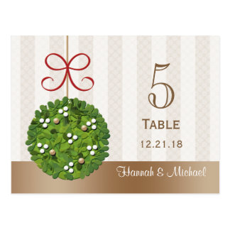 MISTLETOE KISSING BALL WEDDING TABLE NUMBER CARD