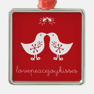 Mistletoe Kissing Chicks Cute Christmas Ornament