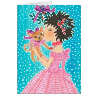 Mistletoe Love Dog Greeting Card