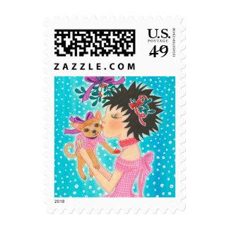 Mistletoe Love Dog Postage
