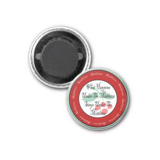 Mistletoe Madness 1 Inch Round Magnet