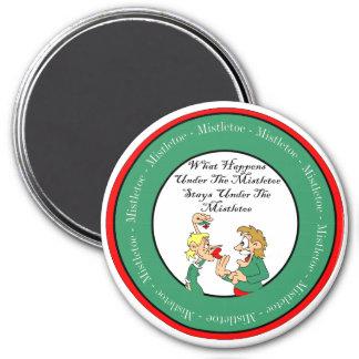Mistletoe Madness 3 Inch Round Magnet
