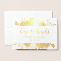 Mistletoe Manor Chic Thank You Wedding Photo Gold Foil Card