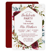 Mistletoe Manor Hexagon Frame Bachelorette Party Invitation