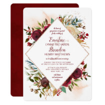 Mistletoe Manor Rose Gold Diamond Frame Wedding Invitation