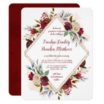Mistletoe Manor Rose Gold Double Diamond Wedding Invitation