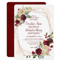 Mistletoe Manor Rose Gold Geometric Wedding Invitation