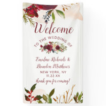 Mistletoe Manor Watercolor Floral Wedding Welcome Banner