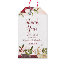 Mistletoe Manor Watercolor Rose Wedding Thank You Gift Tags