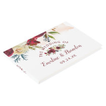 Mistletoe Manor Watercolor Winter Floral Wedding Guest Book