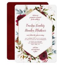Mistletoe Manor Watercolor Winter Hexagon Wedding Invitation