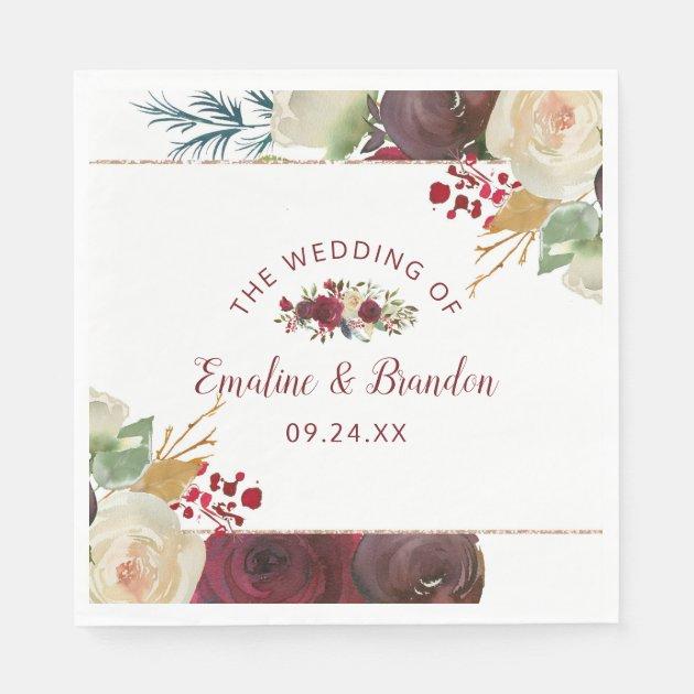 Mistletoe Manor Watercolor Winter Wedding Monogram Napkins Zazzle Com