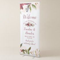 Mistletoe Manor Watercolor Winter Wedding Welcome Retractable Banner
