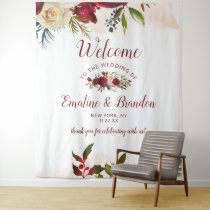Mistletoe Manor Watercolor Winter Wedding Welcome Tapestry