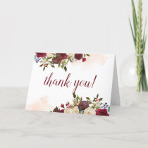 Mistletoe Manor Winter Floral Custom Wedding Photo Thank You Card