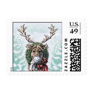 """""""Mistletoe Messenger"""" Christmas Postage, small Postage"""